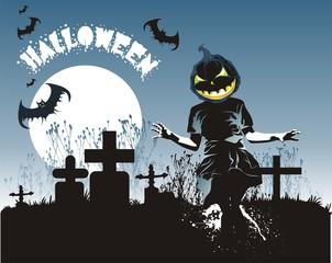 helloween illustration-pumpkin ,cemetery