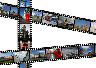 Illustration - film strips with travel photos. London, England