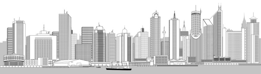 very detailed city skyline