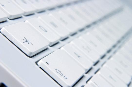 Closeup of white keyboard