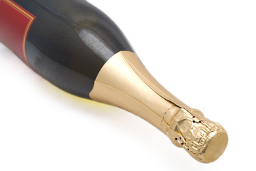 A champagne bottle isolated on a white background