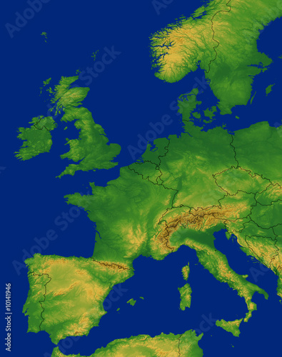 Western Europe Map with Terrain\