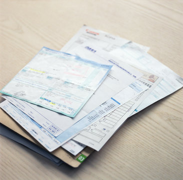 stack or receipts