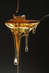 Golden honey spilling on dark background stock photo