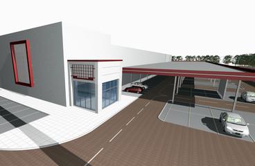 3D render of modern business center, parking in front