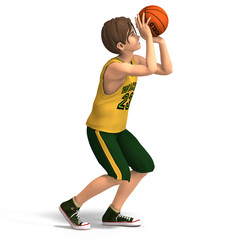 a very young toon character plays basketball.With Clipping Path