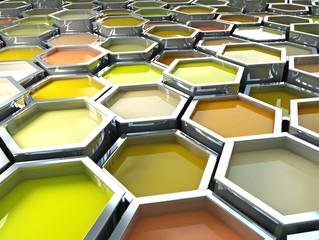 fine image 3d of yellow tone hexagon color paint