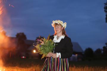 Celebration of middsummer day of Ligo in Latvia, Baltic states