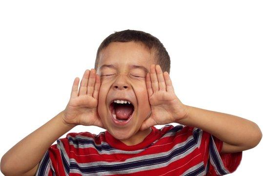 Hispanic boy yelling or screaming 5 years old