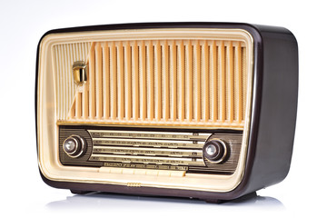 Ivory and brown vintage radio