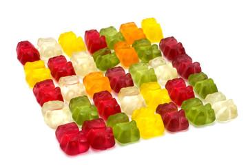 Gummi bears isolated on white.