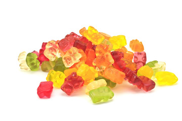 Gummi bears isolated on white.