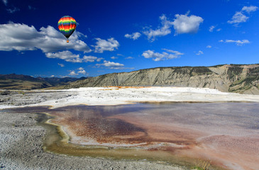 The scenery of Yellowstone National Park in Wyoming