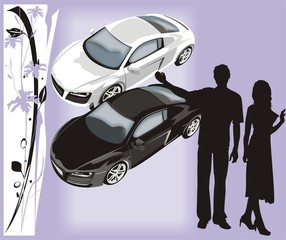 Silhouettes of the woman and man on a background of cars