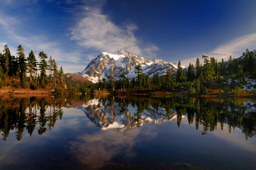 A wide angle portrait of Mount Shuksan and its reflection