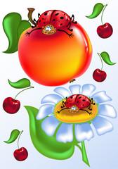 Cheery, sweet ladybird on the apple - illustration