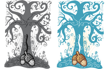 Acorn and tree of life tattoo style vector illustration
