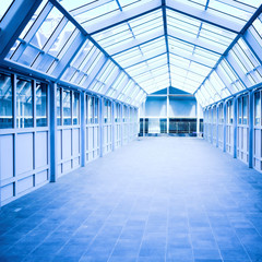 Blue corridor inside modern office
