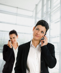 Businesswomen calling on mobile phone at office.