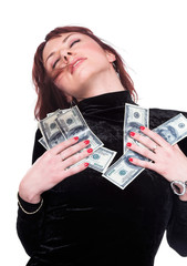 A series of photos about the woman and money