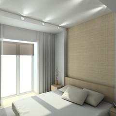Modern design interior of bedroom. 3D render