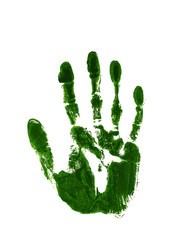 Green ink impression of a left hand
