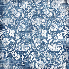 decorative blue-white patterns in retro style