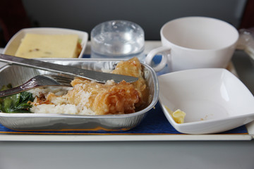 airplane food on tray table