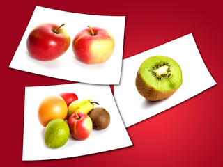 photos of fruits  on red background