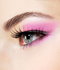 Printed roller blinds Beauty Stidio shot of a human eye with bright fashion pink make-up
