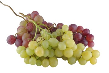 matur grapes on white background