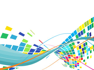 Abstract mosaic background with wave line