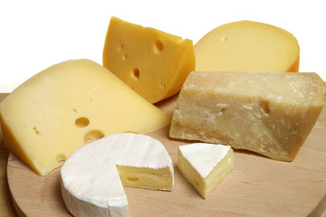 Variety of cheese: camembert and other hard cheeses