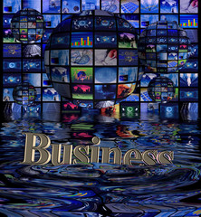 Multi screens and Globes and a sinking business symbol.