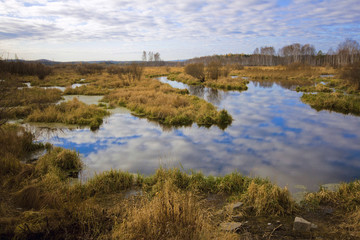 autumn landscape photo with blue sky,mirrow in the  river