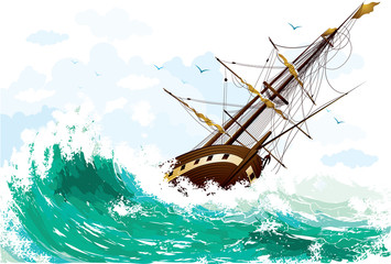 The ship picked up by a wave