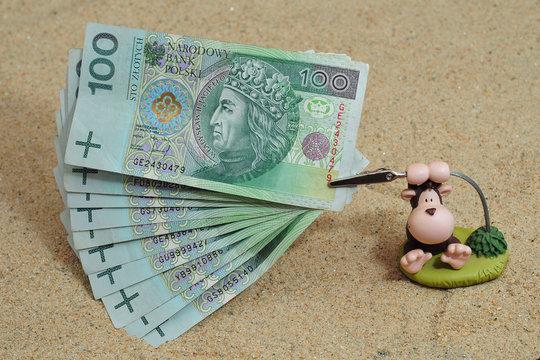 Toy ape holding polish money