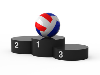 Isolated black podium and volleyball ball.