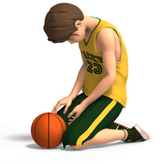 young manga character in basketball clothes.With Clipping Path