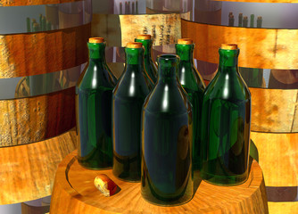 Bottles of Wine on Barrels with an Open Bottle