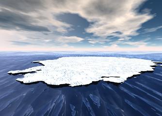 Ice Sheet Floating in Ocean Waters