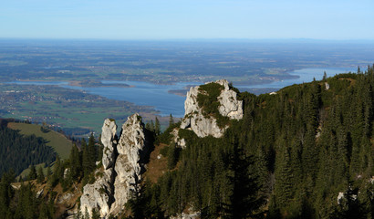 Sight To The Chimsee From Peak Of Kampenwand.