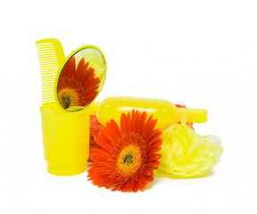 Body care set and flower isolated on white