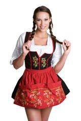 Woman Wearing German Dirndl