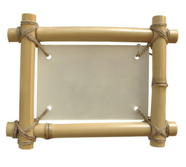 isolated bamboo frame on white background for annoncement