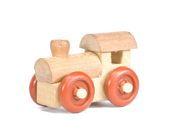 wooden toy train on a light background