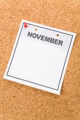 Blank Calendar, November, close up for background