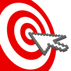 Poster Pixel Cursor arrow points to select red target bulls-eye