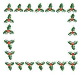 Frame of holly on a over white background