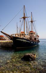 Moored boat at Santorini, Greek Islands